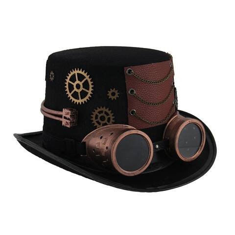 Steampunk Top Hat with Metallic Copper Gears & Removable Goggles - 6 X 11.75 X 10 inches