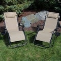 Sunnydaze Oversized Zero Gravity Lounge Chair with Pillow and Cup Holder - Thumbnail 2