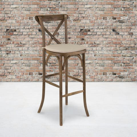 2PK 350lb. Rated Dark Antique Wood Cross Back Stackable Barstool with Cushion