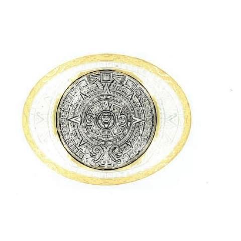 Crumrine Western Belt Buckle Aztec Calendar Antique Silver Gold - 4 x 3