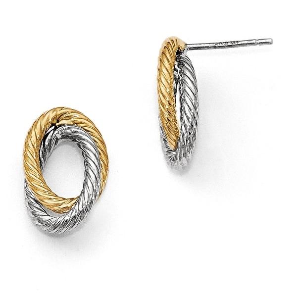 Italian 14k Two-Tone Gold Fancy Earrings