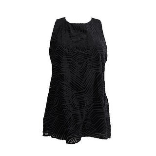 Alfani Black Velvet Burnout Illusion Blouse 14