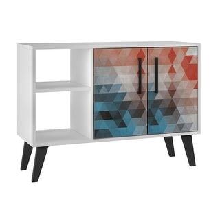 Mid Century Modern Amsterdam 35.43 In. 4 Shelf Wood Sideboard Buffet