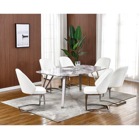 Best Quality Furniture 7-Piece Faux Marble Dining Set - Faux Leather