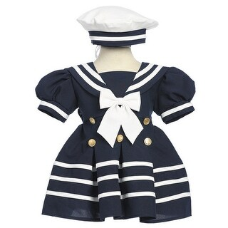 Baby Girls Navy White Bow Dress Hat Sailor Outfit 3-24M