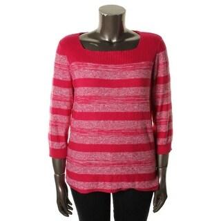 Jones New York Womens Pullover Sweater Striped Square Neck
