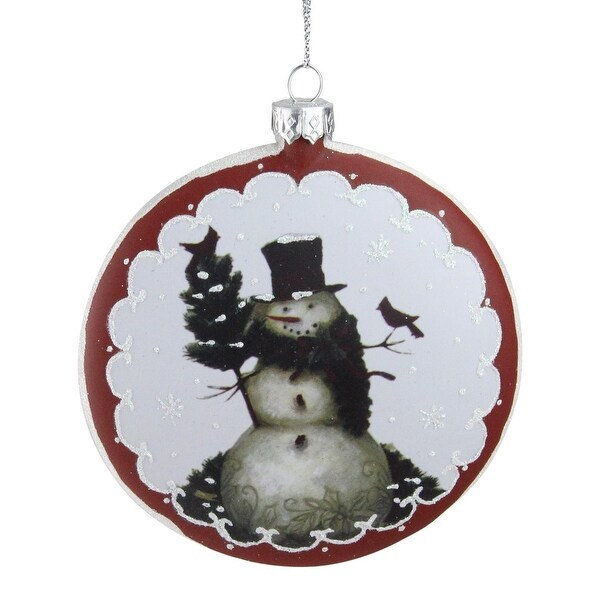 """5"""" White and Burgundy Snowman with Cardinals Glittered Christmas Tree Ornament"""