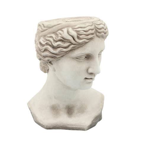 "Resin 11"" Lady Head Planter, Antique White"