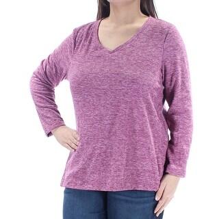 Womens Purple Long Sleeve V Neck Top Size XL