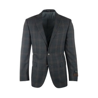 Sangria Slate Gray with Brown Plaid Pure Wool Jacket by Tiglio Luxe