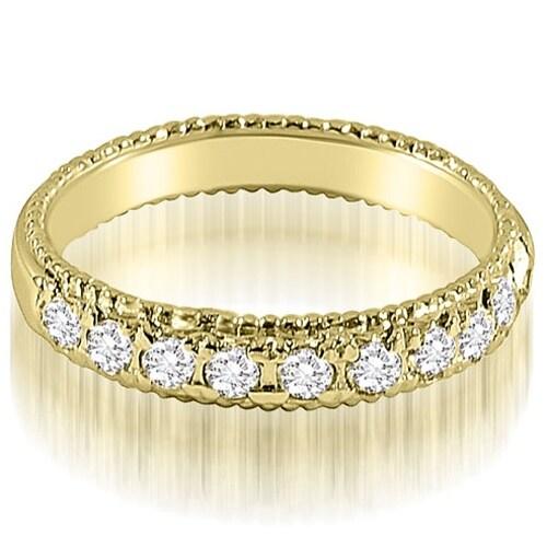 0.50 cttw. 14K Yellow Gold Antique Style Milgrain Round Cut Diamond Wedding Ring