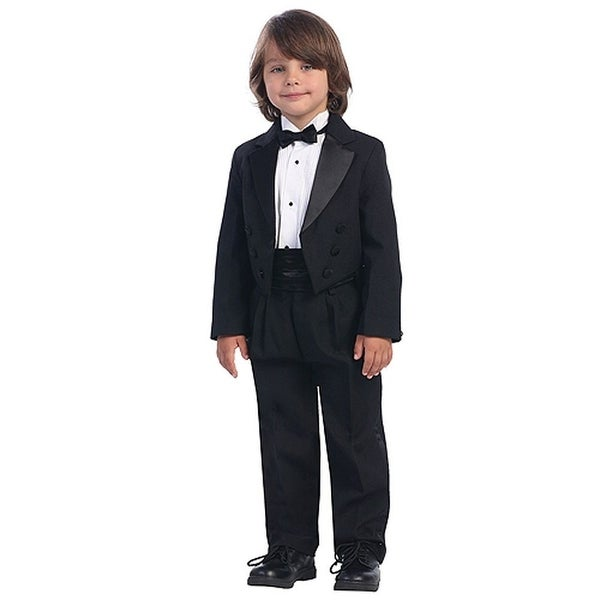 Boys Black Special Occasion Formal Wedding Tuxedo Suit Set 4-14 ...