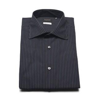 Valentino Men's Cotton Dress Shirt Black Pinstriped