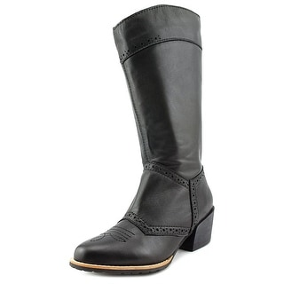 All Black Tex Boot Women Pointed Toe Leather Western Boot