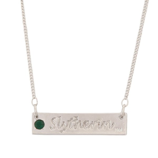 Harry Potter Slytherin Script Bar Necklace with Stone