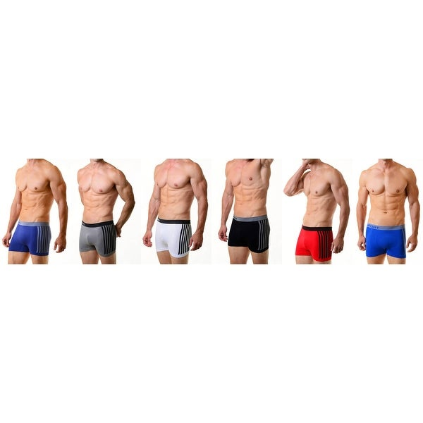 Classic Men's Seamless Boxer Briefs Shorts Underwear  6-Pack with Vertical Stripes (One Size)