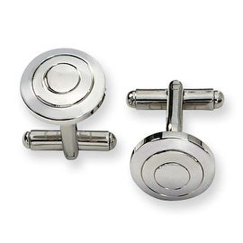 Chisel Circles Polished Stainless Steel Cuff Links