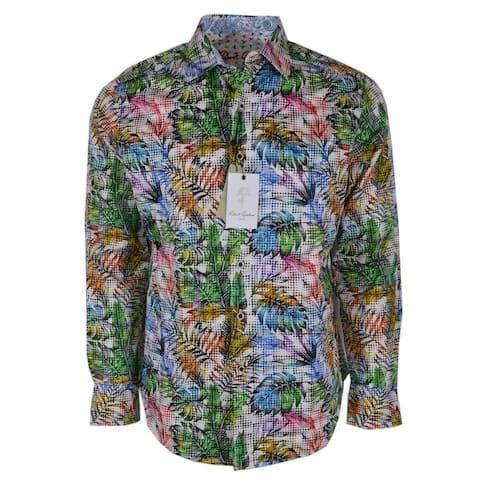 Robert Graham HANSTON Embroidered Leaf Print Paisley Sports Dress Shirt