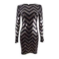 Vince Camuto Women's Sequined Chevron Sheath Dress (2, Black/Gold) - Black/Gold - 2