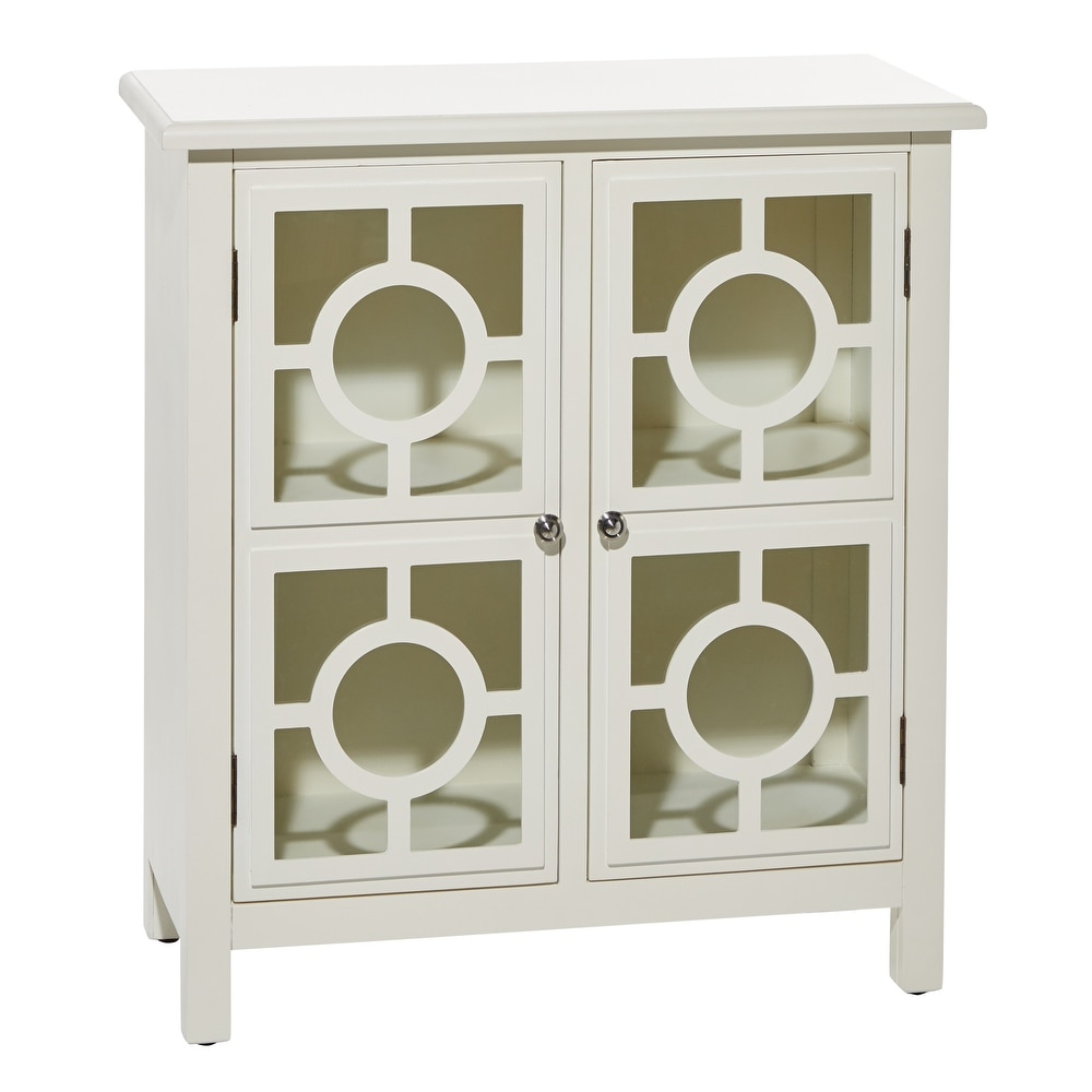 """Studio 350 White 2-Door Wood And Glass Cabinet With Silver Ring Fixtures 30"""" X 33"""" - 30 x 14 x 33 (30 x 14 x 33 - White)"""