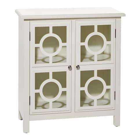 "White 2-Door Wood And Glass Cabinet With Silver Ring Fixtures 30"" X 33"" - 30 x 14 x 33"