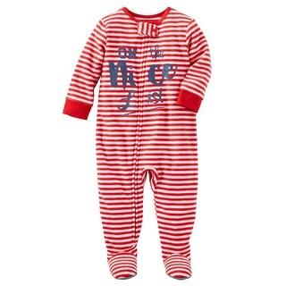 OshKosh B'gosh Baby Boys' 1-Piece Nice List Fleece PJs, 3 Months - Red
