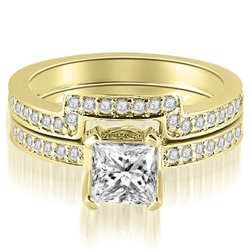 1.15 cttw. 14K Yellow Gold Princess And Round Cut Diamond Bridal Set