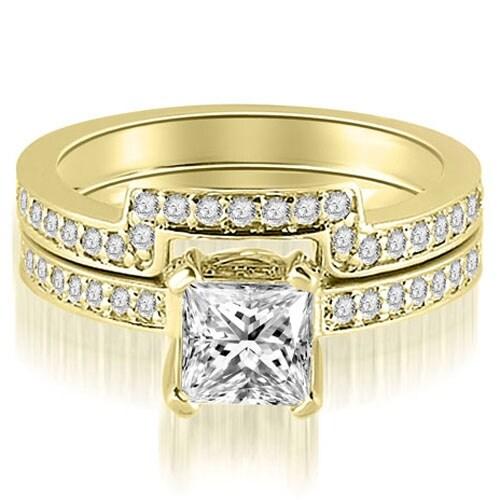 1.40 cttw. 14K Yellow Gold Princess And Round Cut Diamond Bridal Set