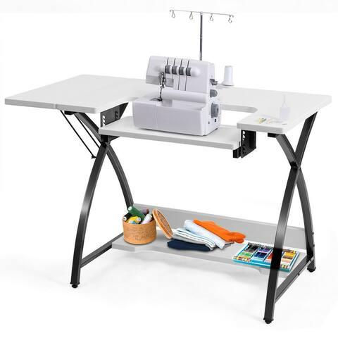 Costway Sewing Craft Table Computer Desk with Adjustable Platform