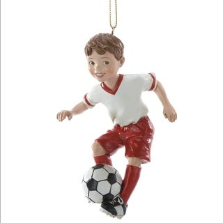 """Club Pack of 12 Boy Playing Soccer Christmas Ornaments 4"""""""