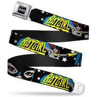 Batman Black Silver Batgirl W Face Close Up & Stars Black White Webbing Seatbelt Belt