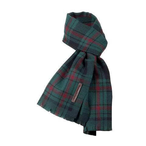 Ermenegildo Zegna Green/Burgundy Plaid Pure Wool Fringe Scarf - 22.5-78