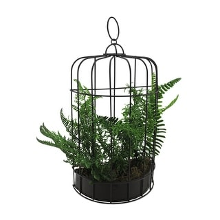 16 Inch Tall Mixed Fern Silk Plant In Metal Birdcage Wall Planter