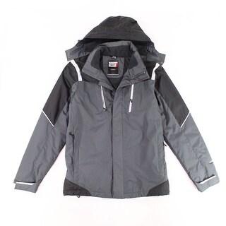 Weatherproof Gray Men Medium M Reflective Hood Windbreaker Jacket