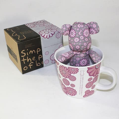 SYNC - [Flower Pink] Stuffed Bear Mug (3.3 inch height)
