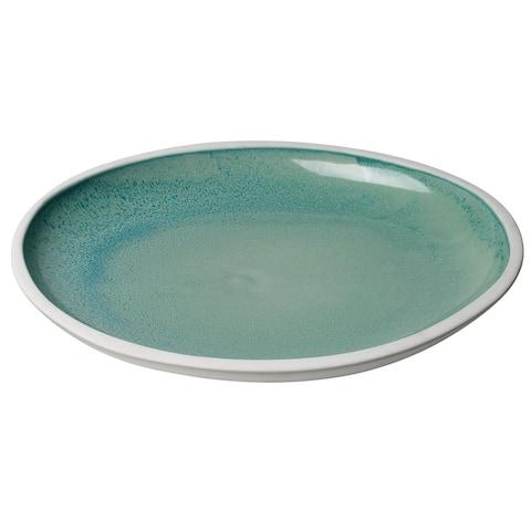 """16.75"""" White Santorini Large Low Rim Bowl in Ocean Ombre Reactive Glaze Ceramic"""