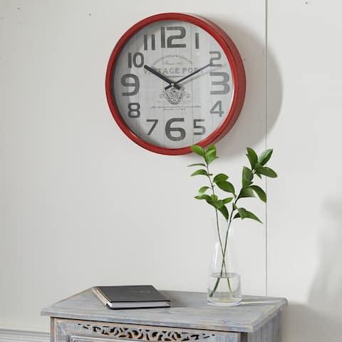 Red Farmhouse Metal Wall Clock 14 x 14 - 14 x 2 x 14Round