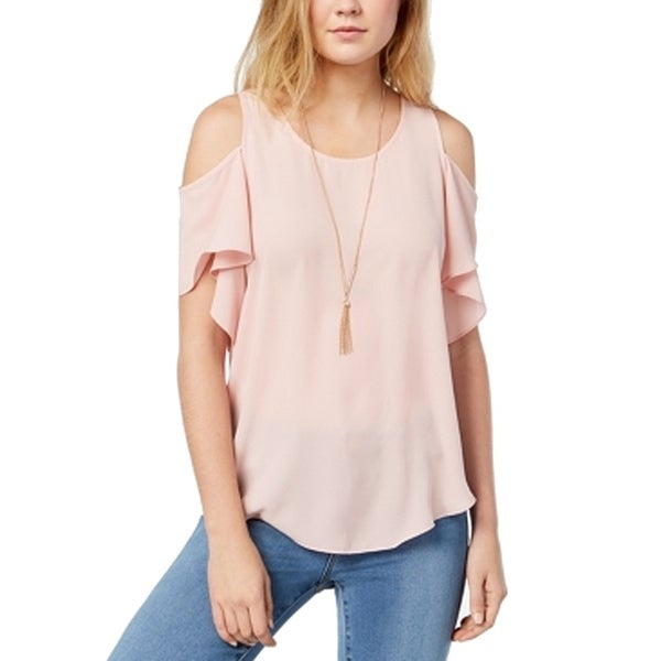 BCX Junior Ruffle Cold-Shoulder Keyhole Blouse