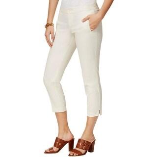 Tommy Hilfiger Womens Capri Pants Poplin Side Slit