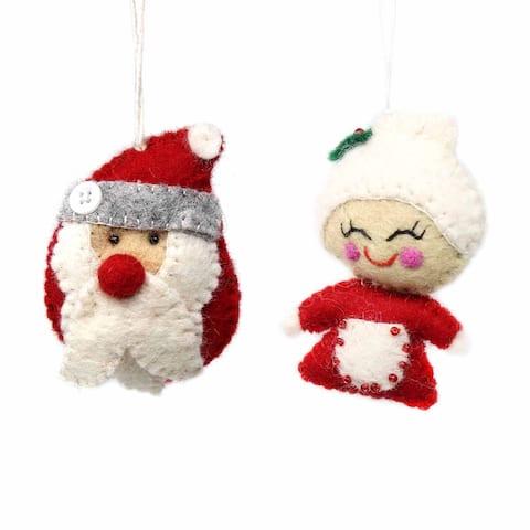Santa Claus & Mrs. Claus Felt Ornament, Set of 2