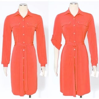 Calvin Klein Woman's Collared Shirt Dress with Belt Wear to Work Orange 12