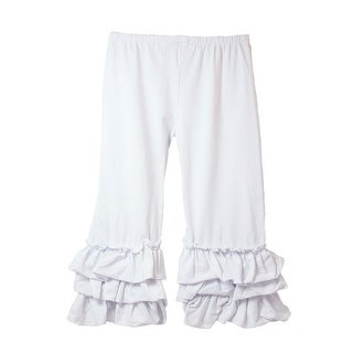 Girls White Triple Tier Ruffle Cuffed Cotton Spandex Pants 12M-7