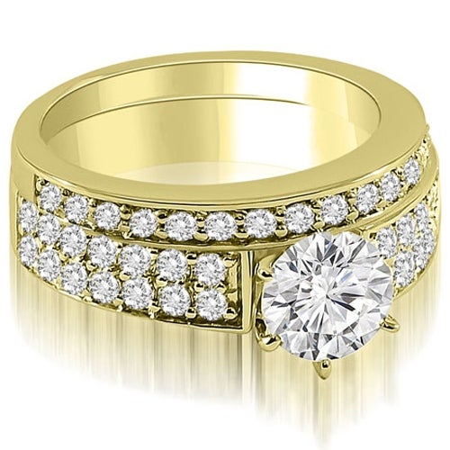 1.45 cttw. 14K Yellow Gold Cathedral Two Row Round Diamond Bridal Set