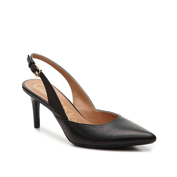 Calvin Klein Womens Giona Leather Pointed Toe SlingBack Classic Pumps