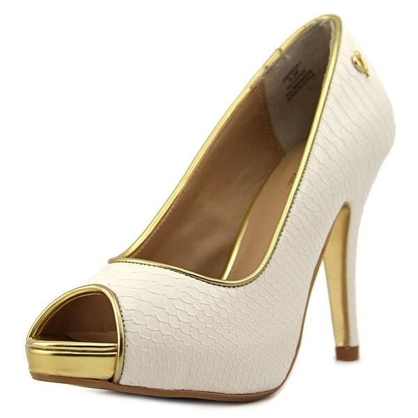 Thalia Sodi Cereza Women Open Toe Synthetic White Platform Heel