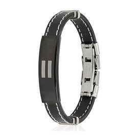 Equal Sign ID Plate Stitch Accent Rubber Stainless Steel Bracelet (10 mm) - 7.25 in
