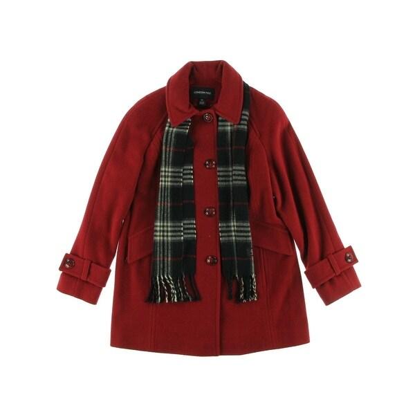 London Fog Womens Petites Pea Coat Wool Blend Lined