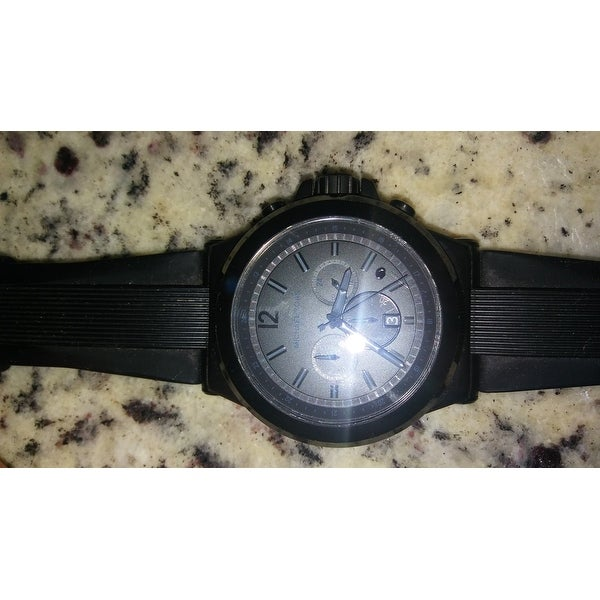b35411a57402 Shop Michael Kors Men s MK8152 Black Silicone Strap Watch - Free Shipping  Today - Overstock - 5336904