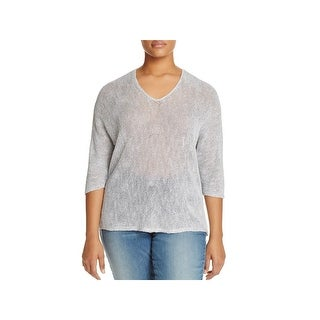 Nic + Zoe Womens Plus Sunkissed Pullover Sweater Linen V-Neck (3 options available)