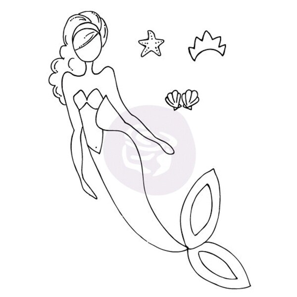 "Julie Nutting Mixed Media Cling Rubber Stamps-SeaSallie Mermaid 5.75""X8"""
